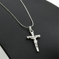 Unisex Stainless Steel Jewelry Jesus Christ Crucifix Cross Pendant Necklace with Chain Lover Gift