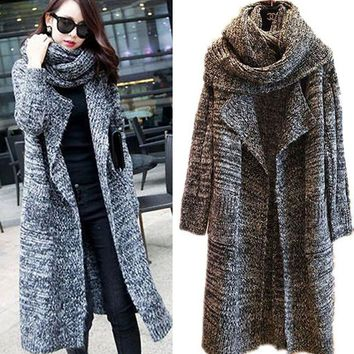 New 2015 Women Long Cardigans Autumn Winter Thicken Coat Casual Knitted Oversized Sweaters Warm Outwear Scarf Collar  WKS0024