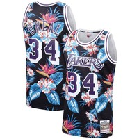 Shaquille O'Neal Los Angeles Lakers Mitchell & Ness Floral Fashion Hardwood Classics Swingman Jersey - Best Deal Online