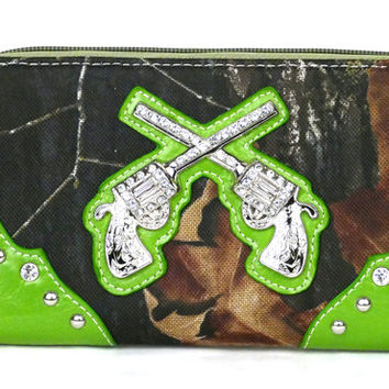 Western Zipper Green Camouflage Guns Wallet