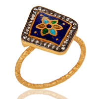 18K Gold Plated Sterling Silver White Zircon and Enamel Ring