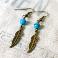 Turquoise and Antique Bronze Feather Earrings Southwest Southwestern Inspired