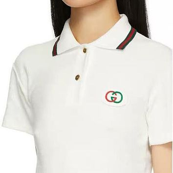 GUCCI Fashionable Women Casual Embroidery Stripe Lapel Short Sleeve Knit Shirt Top