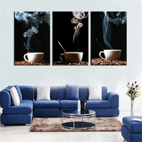 Home Decor Oil Canvas Painting Abstract Hot Coffee Landscape Decorative Paintings Modern Wall Pictures 3 Panel Wall Art No Frame