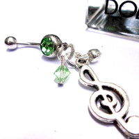 August Birthstone Belly Button Ring, Green Peridot Navel Ring with Music Note, Summer Jewelry
