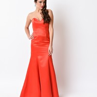 Red Strapless Satin Sweetheart Fitted Long Mermaid Gown 2016 Prom Dresses