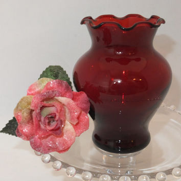 Anchor Hocking Ruby Red Glass - Royal Ruby Vase, Cranberry Glass, Signed Piece, Marked Glass, Red Home Accessory, Floral Display