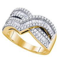 Diamond Ladies Fashion Ring in 10k Gold 1 ctw