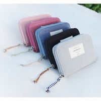 Donbook Wish blossom mind small zip around wallet