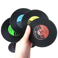 Retro CD-Design Antislip Silicone Drink Coasters Pad Cup Coffee Mat Placemat Christmas Gift 6LO2