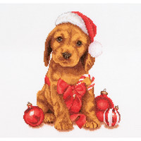 """Christmas Puppy On Aida Counted Cross Stitch Kit-12.25""""""""X11.75"""""""" 16 Count"""