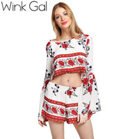 Wink Gal Sexy Crop Top And Shorts Set 2 Piece Set Women Backless Floral Printed Girls Clothing Sets 3306