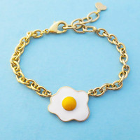 Yummy, Nutritious, Sunny side up, Egg, Gold, Bracelet, Cute, Bracelet, Food, Bracelet, Best friend, BFF, Birthday, Gift, Accessory, Jewelry