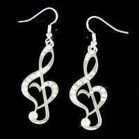 Swarovski Crystal TREBLE G CLEF Love Music Musical Note Love Heart Pendant Earrings Christmas Best Friend Gift New