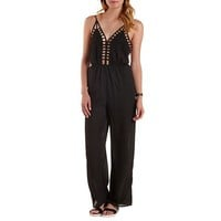 Caged Backless Wide Leg Jumpsuit