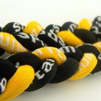 """Durable High Quality Titanium Sport Braided 20"""" Necklace Black Yellow"""