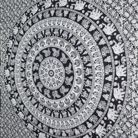 Black and White Indian Elephant Mandala Tapestry Wall Hanging Hippie Bedspread on RoyalFurnish.com