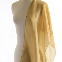 gold bronze scarf, naturally dyed scarf hand dyed plant dyed silk, green gold scarf silk, green bronze shawl, spring scarf, earth accessory