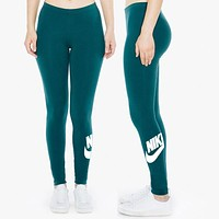 Nike Fashion Print Exercise Fitness Gym Yoga Running Leggings Sweatpants Green