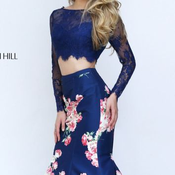 Long Sleeved Mermaid Gown by Sherri Hill