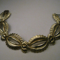 Vintage Gold Tone Coro Pegasus Scalloped Edged Bracelet with Open Centers, 7.5""