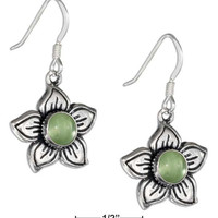 STERLING SILVER 16MM PERIDOT FLOWER EARRINGS ON FRENCH WIRES