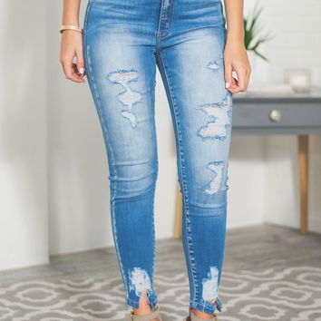 Kendall High Rise Shredded Skinny Jeans