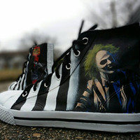 BettleJuice Hand Painted Canvas Lace Up High Top Shoes