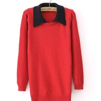 *Free Shipping* Red Women Knitting Sweater TBHTK1204r from clothingloves