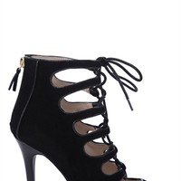 Single Sole Lace Up Booties with Front Cutouts and Zip Back