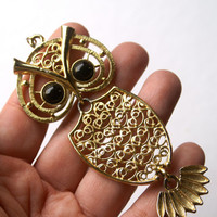 Owl Necklace Sarah Coventry Gold Tone Filigree