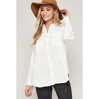Button Down Collared Top with Back Cutouts