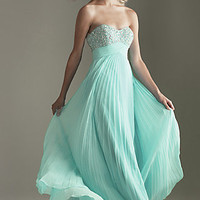 Strapless Pleated Chiffon Formal Gown for Prom by Night Moves