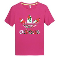 ADIDAS Fashion leisure print Clover T-shirt (4 color) red