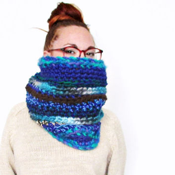 Chunky Mixed Indigo Blues Cowl Scarf. One of a kind. Ready to Ship