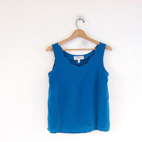 Vintage silk tank top. blue camisole. scalloped silk tank. minimal top. modern silk blouse.