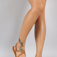 Bamboo Strappy Open Toe Slingback Thong Flat Sandal