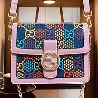 GUCCI Fashion New More Letter Print Chain Shoulder Bag Crossbody Bag Pink