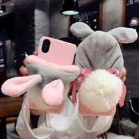 DOEES Luxury Warm Cute Case For iPhone 7 7 Plus 6 6S Plus X Phone Cases PC Winter Furry Rabbit Hat Back Cover For iPhone X Coque