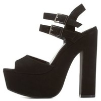 Black Double-Buckle Chunky Platform Heels by Charlotte Russe