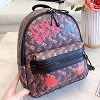 COACH New fashion horse car print leather backpack bag handbag