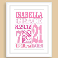 Custom Newborn Baby Girl Birth Stats 8x10 Wall Art Print Nursery Gift