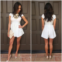 Play it Up Cap Sleeve Romper - Ivory