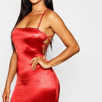 Satin Square Neck Strappy Back Bodycon Dress | Boohoo