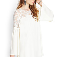 FOREVER 21 Crocheted Lace Shift Dress Cream