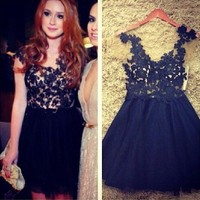 See Through V-neck Embroidery Prom One Piece Dress [6338823617]