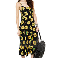 Sunflower Print Knitted Dress