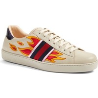 Gucci 'New Ace Flames' Sneaker with Genuine Snakeskin Detail (Men)   Nordstrom