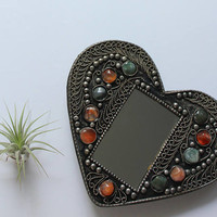 Vintage Heart Shaped Ornate Framed Mirror with Gemstones Made in India 1980s