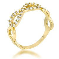 WildKlass 0.35ct CZ 14k Gold Plated Infinity Ring
